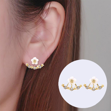 Shuangshuo New Fashoin 925 Sliver Earrings Daisy Flower Ear Jacket for women Bijoux Jewelry Brincos Pendientes Mujer(China)
