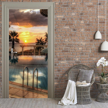 Free shipping DIY 3D swimming pool Door Sticker for Kid Bedroom Living Room Poster PVC Waterproof Decal 77*200cm(China)