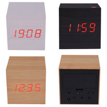Home Decor USB Powered Mini Wooden Clock LED Digital Desktop Alarm Clock