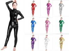 Buy Sexy Black Female Faux Leather Catsuit PVC Latex Bodysuit Front Zipper Open Crotch Stretch Clubwear Erotic Pole Dance Lingerie