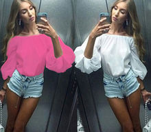 One Size Women  Collar Neck  Slash Neck  Off the Shoulder Puff Sleeve Casual Tops Shirt Blouses White