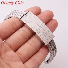 Granny Chic Charming 316L Stainless Steel Silver Tone Twisty Wire Chain Cable Men Womens Great Wall Bracelet Bangle High Quality