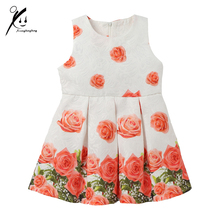 Spring/Autumn New Princess Flower Girl Dress Pink Rose Party Wedding Girls Dresses For Birthday Tutu for 3-7 Year XDD7438H