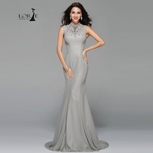 Dresses Prom Crystals Mermaid Dress Sliver Vestidos Formatura 2017 LORIE Long Formal Dress Evening Dress Women Long Chiffon Gown