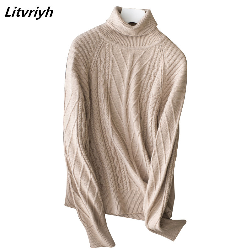 Litvriyh 18 new style cashmere sweater women sweaters and pullover long sleeve high neck warm female pullover women knitted tops
