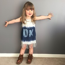 BD237  Retail 2016 Fashion girls summer sleeveless dress loose-fitting dress baby fringed girl summer dress girl dress