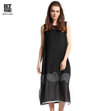 Outline Women Summer Dress Loose Vintage Sleeveless Solid Dress Embroidery Silk Patchwork Split Vestido Of Soild Dress L172Y012