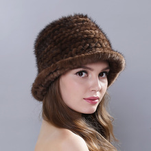 Women's Winter Hats Lined Natural Real Fur Cap New Fur Knitted Cap Women Pineapple Hat Genuine Mink Fur Hat Female Winter