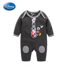 Disney 2017 New Baby Rompers Cartoon Cute Long Rompers Cotton Mickey Minnie Jumpsuit Newborn Boy Clothes Autumn-Spring Dress(China)
