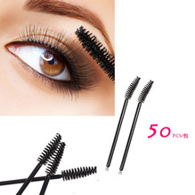 Hot Sale 50 pcs One Off disposable mascara brush eyelash wand applicator brush makeup eye care styling BO(China)