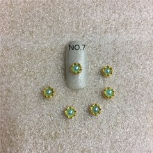 10 pcs/bag  Golden Pearll Sun flower 3d Nai Art Decoration New Style  A Diamond jewelry Ornament Nail Sticker NO.7 NO.8
