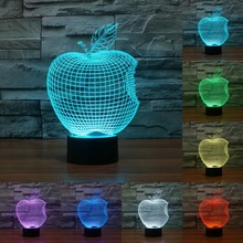 Color Changing USB lamp night light colorful Apple LED 3D three-dimensional Desk Lamp Visual Led Novelty Lighting touch IY803310(China)