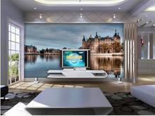 3d wallaper Custom photo non-woven Wallpapr TV wall murals Scenery of Lake Castle in France 3d wallpaper home decoration