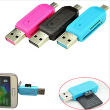Universal Card Reader Mobile phone PC card reader Micro USB OTG Card Reader OTG TF / SD flash memory Adapter For Android