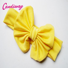 2017 Cotton Turban Kid Headband Fashion Knotted Bowknot Headwear Yellow Butterfly Headbands Girl Hair Bows Hair Band Accessories