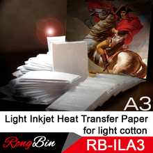 100 Sheets A3 Light Inkjet Heat Transfer Paper Sublimation Paper Printing for DIY Light Cotton Fabric Clothes T-shirt Heat Print