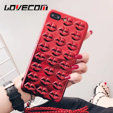 LOVECOM 3D Sexy Kiss Red Lips Electroplating Phone Cases For Apple iPhone 7 6 6s Plus Luxury Lanyard Soft TPU Back Cover Coque