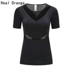 HEAL ORANGE Women Running T-Shirts Short Sleeve Hollow Fitness Mulher T-Shirt Jogging Yoga Gym Women'S Fitness Yoga Clothing
