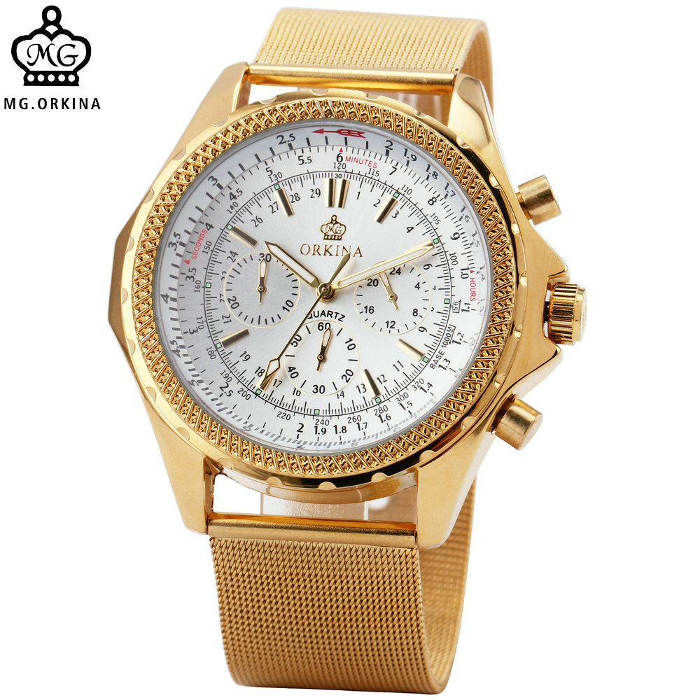 ORKINA Golden Watches for Men Top Luxury Brand Men Quartz Wristwatches Stainless Steel Band Working Sub-dials 6 Hands Watches<br>