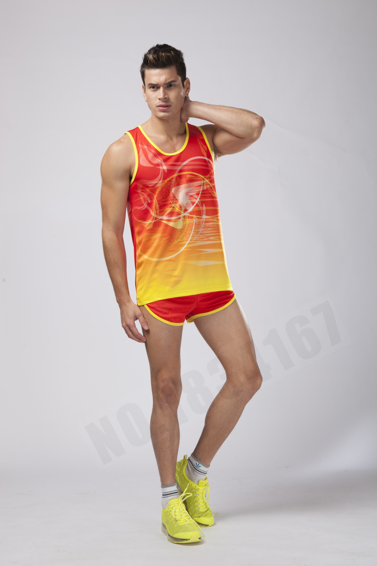 Men Sport Suits Marathon Clothes Vest+Shorts 2 pieces set Racing kits Track and field Clothing Jogging Running Sets 17 New 22