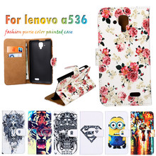 Hot Selling Painted Leather Covers For Lenovo A536 A358T 5.0 Inch Cases Mobile Phone Skin Sheaths Flip Holster Cell Phone Bags