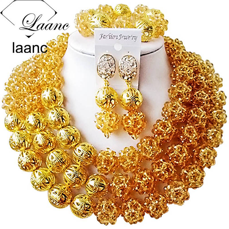 Laanc Gold Champagne Costume African Jewelry Set for Women Nigerian Beads Necklace AL423