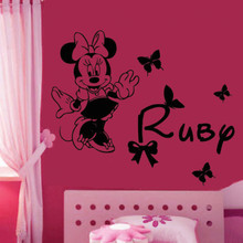 Personalise Name & inspired Minnie DIY Removable wall sticker for kids Mickey Mouse Girl's Bedroom Wall Decals wallpaper D590