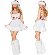 Deluxe Snowman Dress Sweet Girl Snow Woman Santa Costume Candy Cane Stripe Santa Dress with Hat Leg Warmers Christmas Gift(China)
