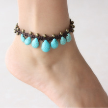 Blue stone anklets for women bohemian vintage jewelry copper bell handmade anklet 016(China)