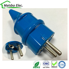 Blue European 2p Elcectrical AC 16A EU germany franch industry waterproof grounding Power cable plug france adaptor converter(China)