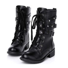 Hot Sale Women Spring Autumn Biker Leather Fashion Motorcycle Boots Ladies Vintage Rivet Combat Army Punk Goth Ankle Shoes