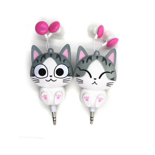 Cute Cheese Cat bear Cartoon Retractable Earphone for MP3 MP4 for Samsung HTC OPPO Xiaomi  for IPhone 4 5 5s 6 6s 7 Automatic