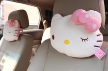 1pc 26cm cartoon bowknot dot shy hello kitty cat plush car neck pillow vehicle novelty kids romantic girl gift stuffed toy(China)