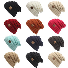 Women Winter Beanies Men/Female Hat 2017 Hot Europe Tag letters Label on Knitting Cap Casual Outer Cap Outdoor Warm Hat WQ246(China)