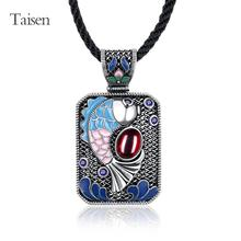 ethnic jewelry 2016 Latest National Style Necklace for women ancientry silver  corundum created gemstone pendant necklaces