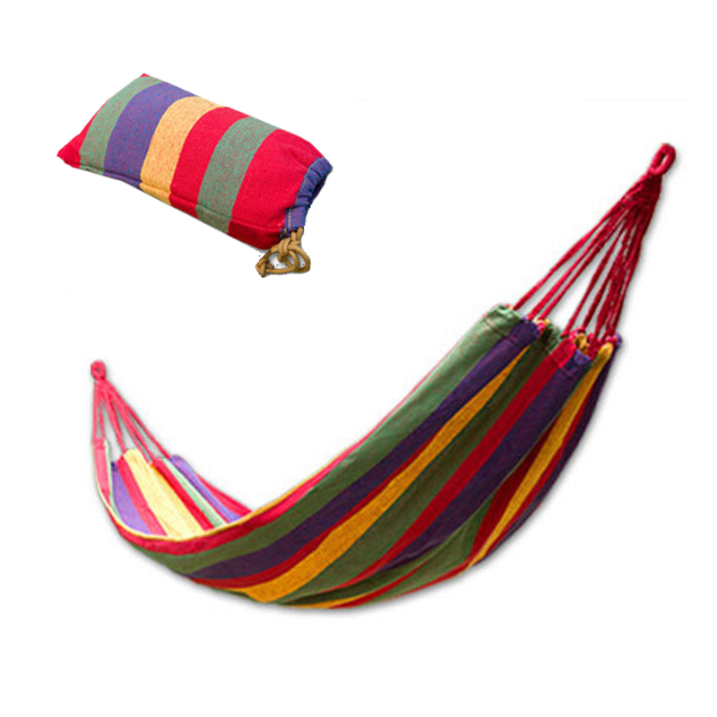 Portable 120 Kg Loadbearing Outdoor Leisure Swing Hammock Thick Canvas Color Striped Camping Hammock Send Tied Rope Portable Bag<br><br>Aliexpress
