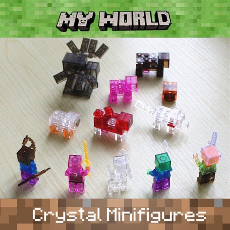 6pcs Crystal Minifigures MY WORLD legoelied Alex Steve Skeleton Zombie Pigman Spider Minecrafted Building Blocks Bricks Toy Boy<br><br>Aliexpress