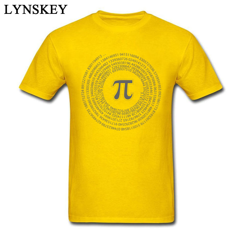 Group Tops T Shirt Funny Round Collar Short Sleeve Pi day vortex mathematical constant 100% Cotton Men T-shirts Casual Summer Tee-Shirt Pi day vortex mathematical constant yellow