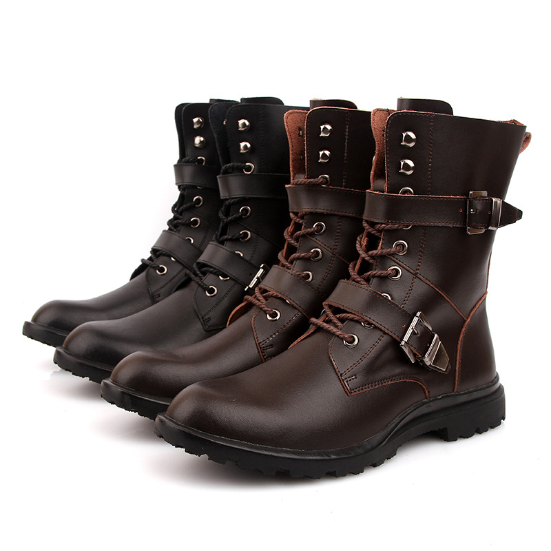 Plus Size Mens Winter Combat Boots Leather Mid Calf Male Army Boots For Sale Lace Up Buckle Snow Boots For Men Plush Warm Shoes<br><br>Aliexpress
