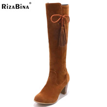 Buy RizaBina Size 31-48 Women Knee High Heel Boots Zipper Cross Strap Long Boots Warm Fur Shoes Cold Winter Snow Bota Woman Footwear for $32.59 in AliExpress store