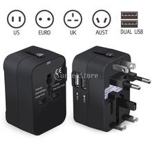 Dual USB Port Universal Worldwide All-in-one Travel Adapter Wall Charger AC Power AU UK US EU Surge Protected Electrical Plug