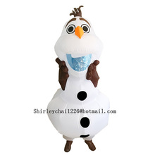 Olaf Halloween Snowman Inflatable Olaf Costume for Adult Fancy Suit White Carnival Costume Mascot Cosplay Costume Removable Nose