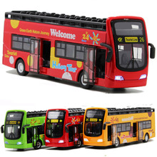 Diecast Alloy and ABS car model double layer tourist bus Music light the door open Children city bus toy model with box boy gift