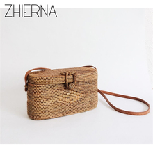 ZHIERNA Bali Island Rattan bag Small Handmade Straw Bag Popular Beach Bag for Women Crossbody Ata Handbag(China)