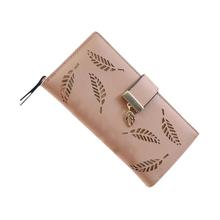 2017 Women Wallets Leaf Bifold Wallet Leather Clutch Women Card Holder Purse Lady Long Handbag carteras mujer purse female