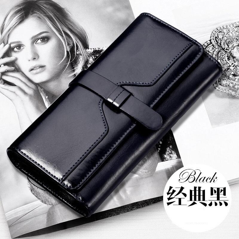 HANYUNA BRAND Oil Wax Genuine Leather Wemen Wallet Big Capacity Multi-Functional Ladies Wallet Lont-type Modern Female Wallet<br>