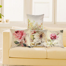 Vintage Decorative Home Cotton Linen Pillow Case Cover Living Room Bed Chair Seat Waist Throw Cushion Rose Flowers Pillowcases(China)