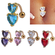 Fashion CZ Crystal Double Heart Belly Button Rings Bar Surgical Piercing Sexy Gold Body Jewelry Women Navel Piercings Wholesale
