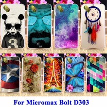 DIY Flexible Soft TPU Silicon Cell Phone Cases For Micromax Bolt D303 Housing Bags Skin Shell For Micromax D303 Protector Shield