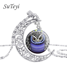 SUTEYI Hot Owl Necklace Round Glass Animal Pendant Necklaces Owl Moon Silver Chain Jewelry Accessories High Quality women Gift